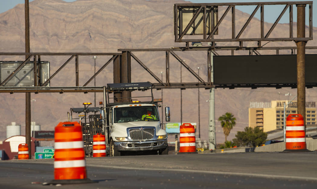Traffic lanes are reduced on U.S. Highway 95 about Rancho Drive as paving efforts related to Pr ...