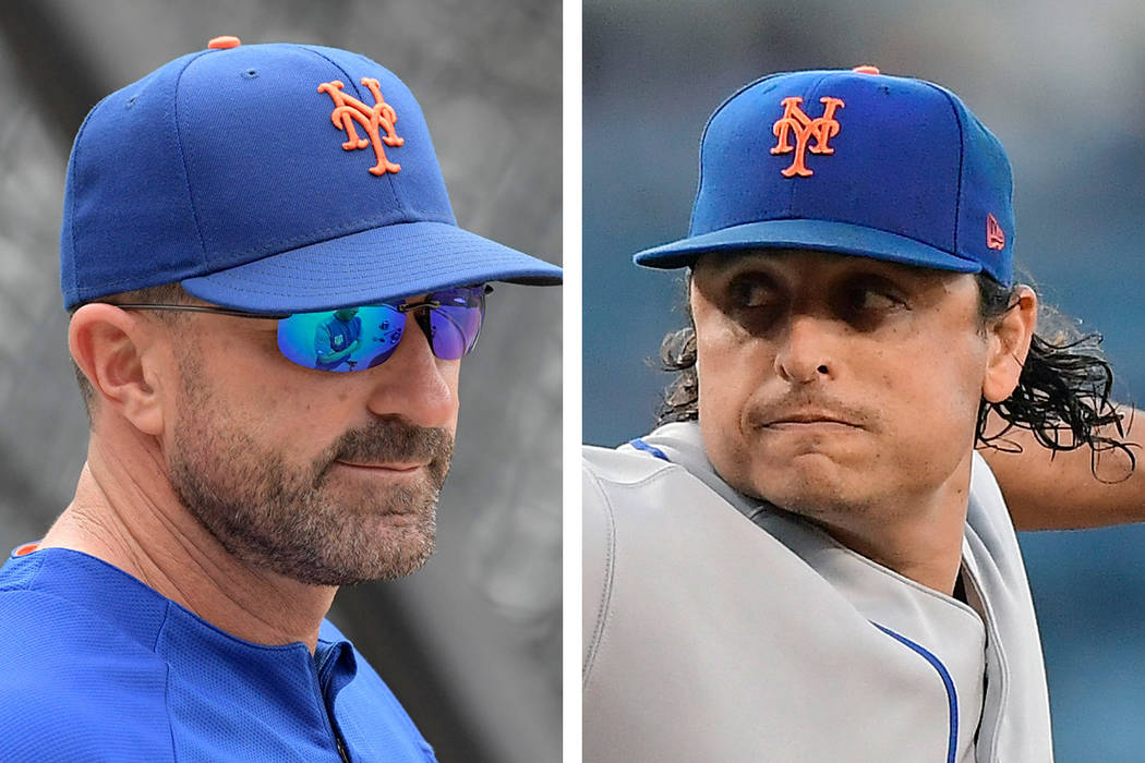 The New York Mets have fined manager Mickey Callaway, left, and pitcher Jason Vargas for their ...
