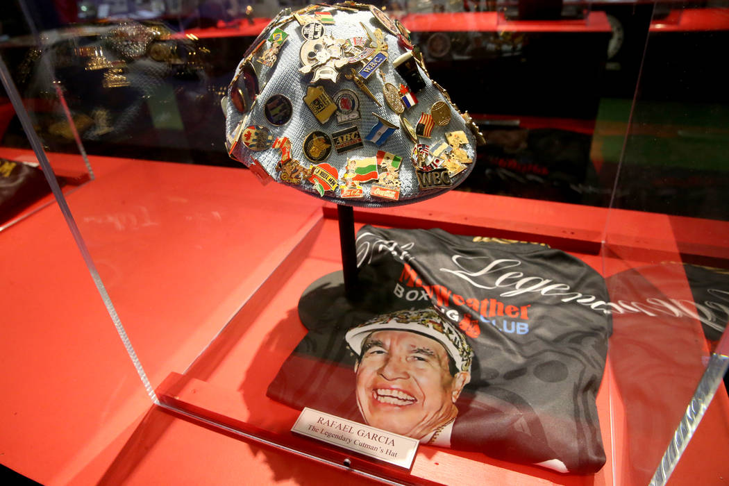 Cutman Rafael Garcia's hat on display at the recently-opened Nevada Boxing Hall of Fame inside ...