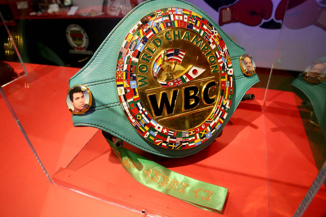 """A World Boxing Council championship belt presented to Diego """"Chico"""" Corrales on displ ..."""