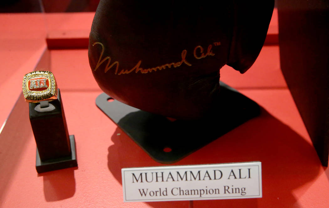 A Muhammad Ali world championship ring on display at the recently-opened Nevada Boxing Hall of ...