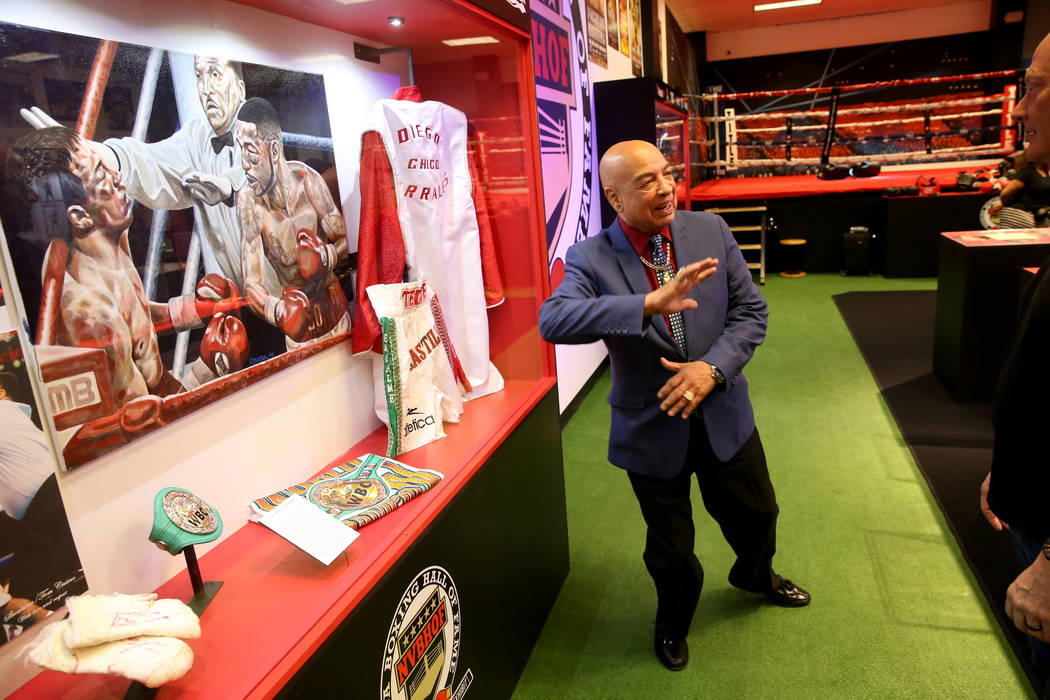 International Boxing Hall of Fame referee Joe Cortez gives a tour of the Nevada Boxing Hall of ...
