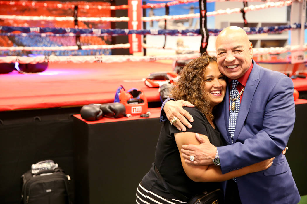 International Boxing Hall of Fame referee Joe Cortez gets a hug from Nevada Boxing Hall of Fame ...
