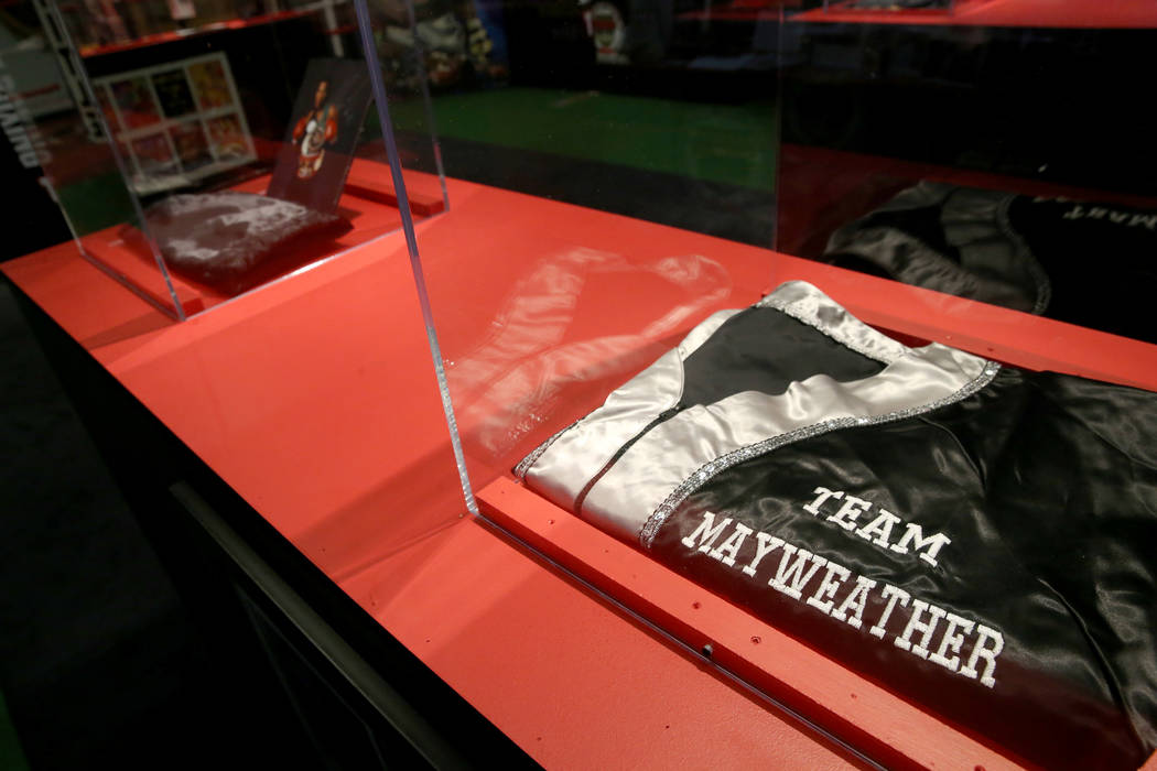 A Floyd Mayweather corner jacket on display at the recently-opened Nevada Boxing Hall of Fame i ...