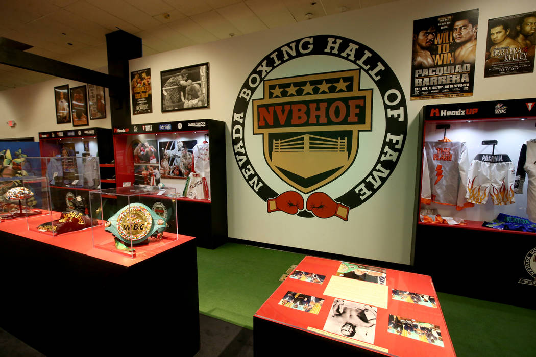 Memorabilia at the Nevada Boxing Hall of Fame inside Headz Up entertainment complex at the Boul ...