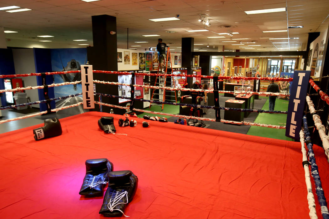 A working boxing ring at the Nevada Boxing Hall of Fame inside Headz Up entertainment complex a ...