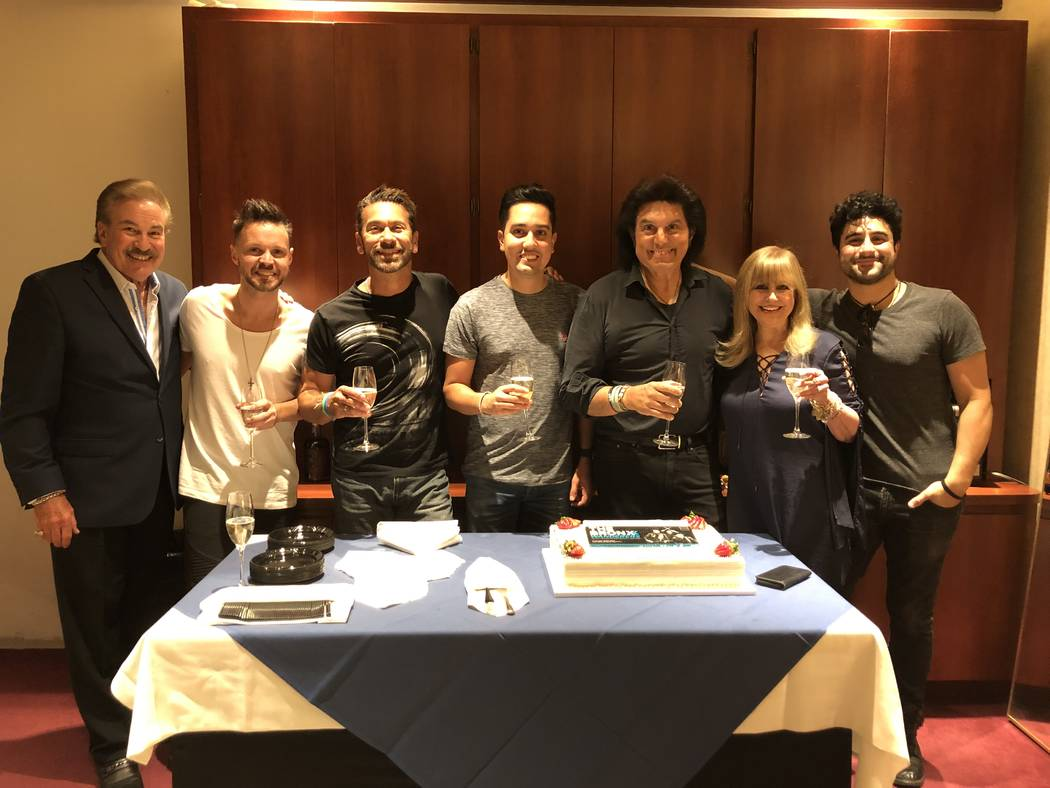 Las Vegas producers Alan and Kathi Glist are shown with the Bronx Wanderers on the act's 100th ...