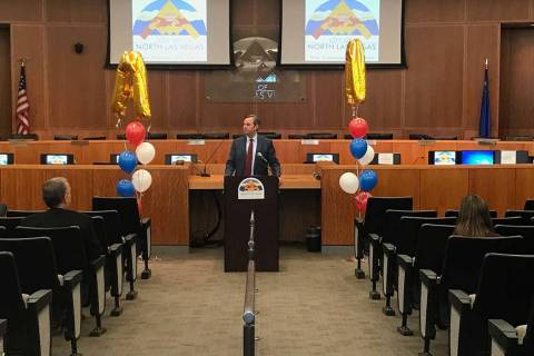 North Las Vegas City Manager Ryann Juden talks about the city's financial comeback at a news co ...