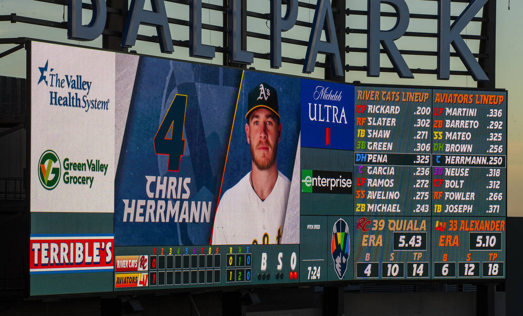 The Aviators scoreboard is awash in rainbow colors during Pride Night at the Las Vegas Ballpark ...