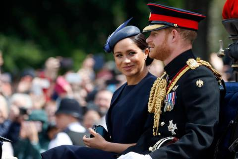 In this Saturday, June 8, 2019 file photo, Britain's Meghan, the Duchess of Sussex and Prince H ...