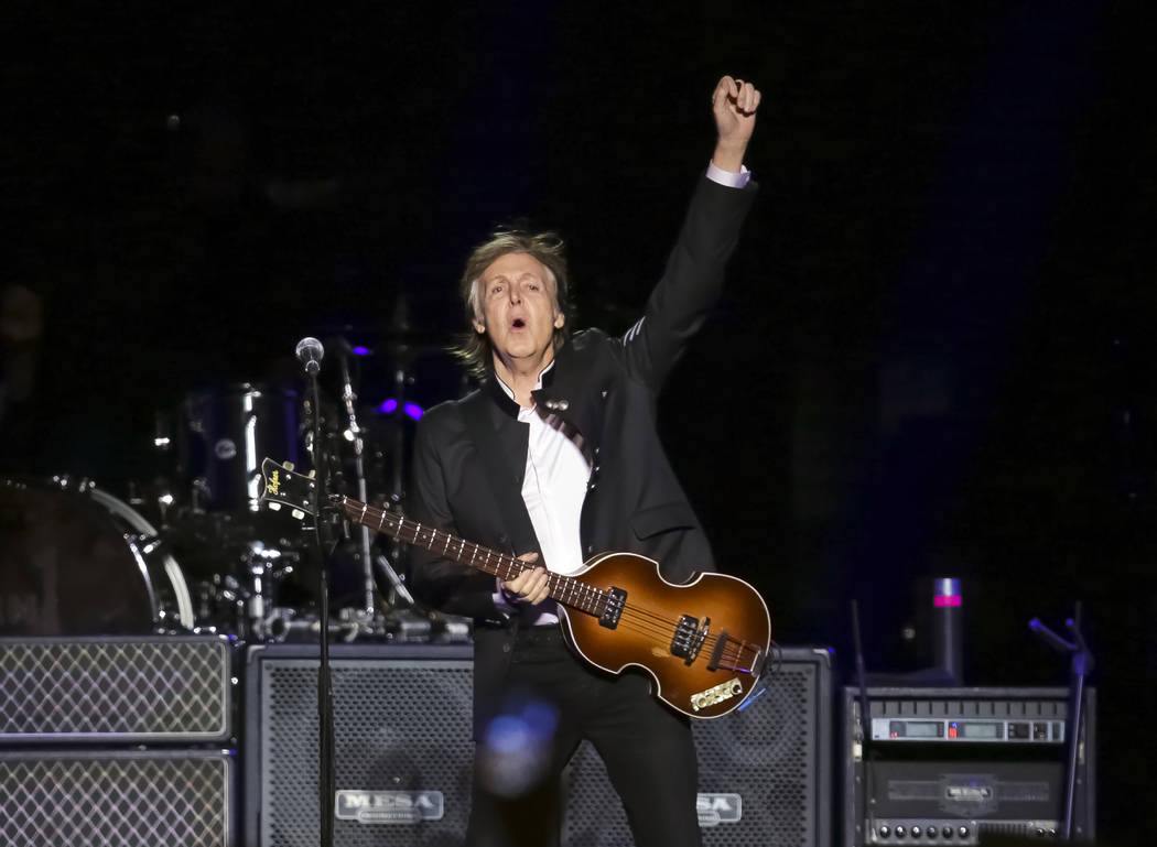 In this Monday, Sept. 11, 2017 file photo, singer/songwriter Paul McCartney performs on stage a ...