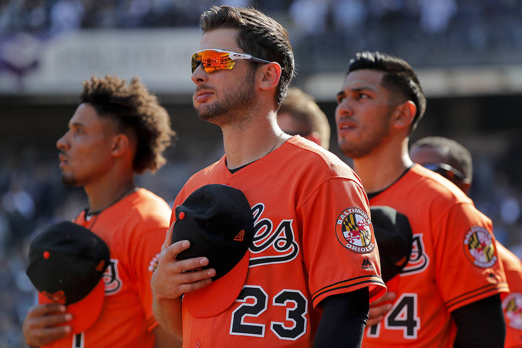 Baltimore Orioles right fielder Joey Rickard (23) stands with teammates during the 7th inning s ...