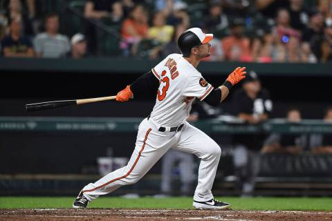 Baltimore Orioles' Joey Rickard follows through on a two-run home run against the Chicago White ...