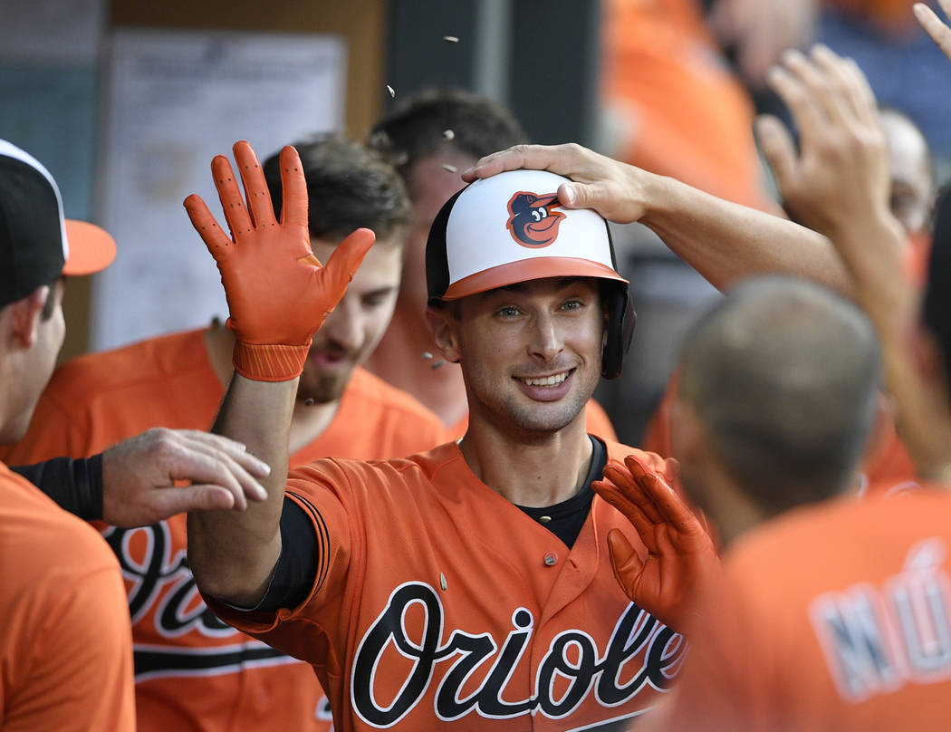 Baltimore Orioles' Joey Rickard celebrates his home run with teammates in the dugout during the ...