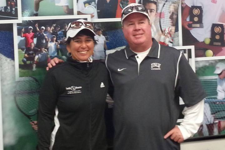 Jolene Watanabe, a former UNLV standout tennis player, poses with current women's coach Kevin C ...