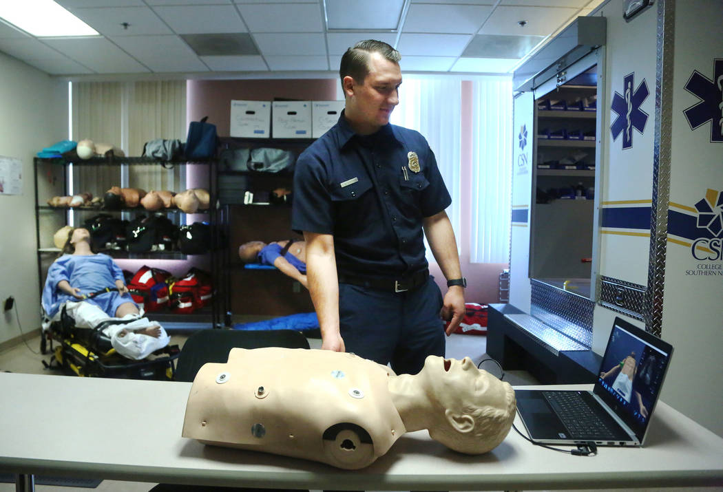 Southern Nevada Firefighter Michael Figiel gives an ultrasound demonstration at the paramedic d ...