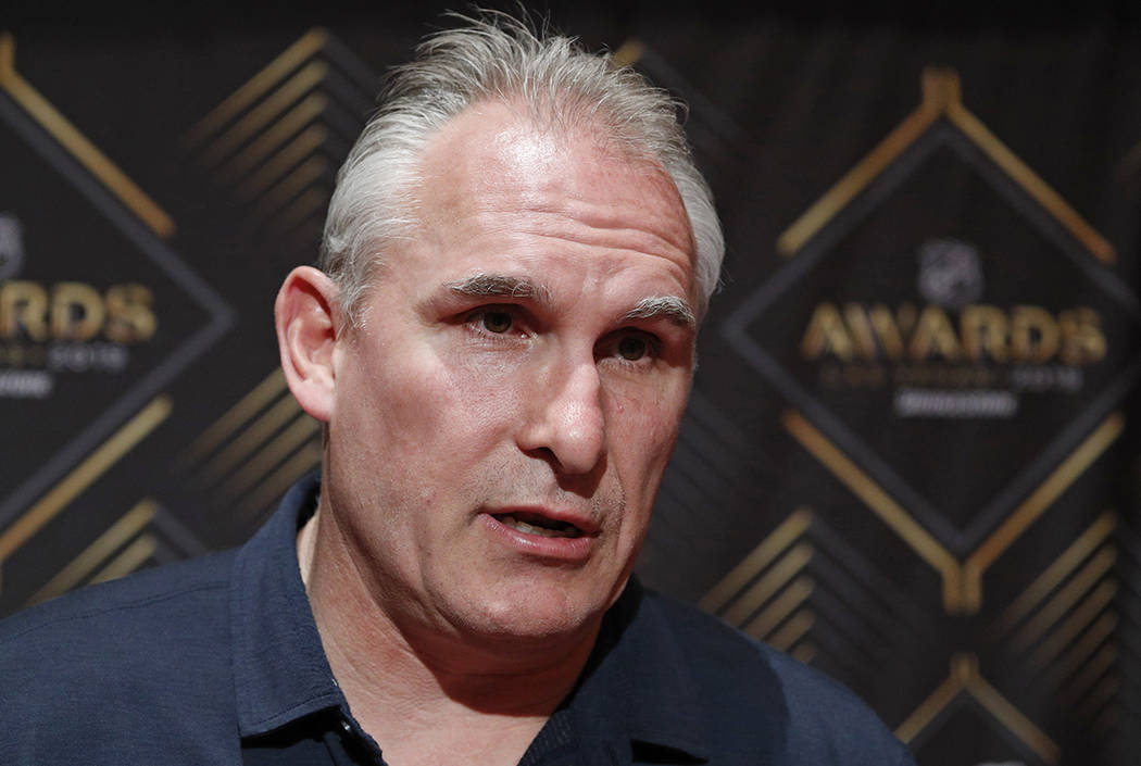 Craig Berube of the St. Louis Blues speaks with the media during a news conference for the NHL ...