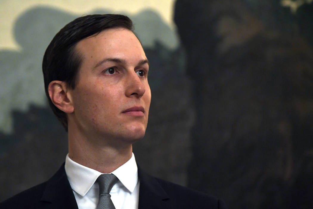 In a March 25, 2019, file photo White House adviser Jared Kushner listens during a proclamation ...