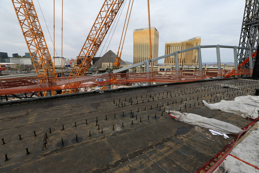 Bolts on the mark where the sliding doors for the future Raiders stadium in Las Vegas, Tuesday, ...