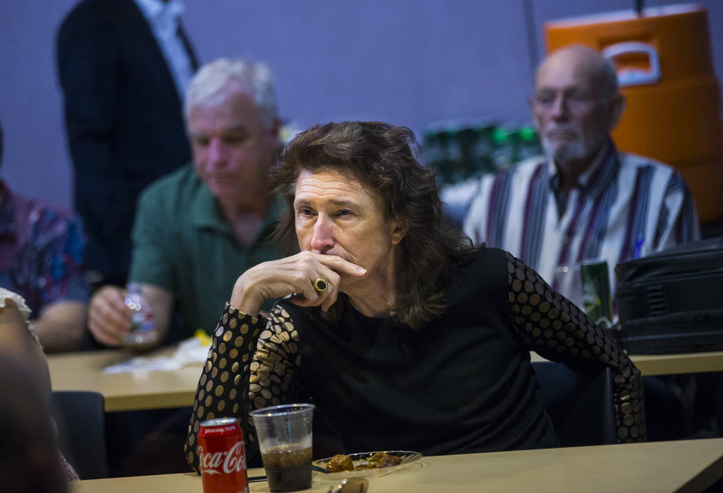 John Delibos, vice president of the Stonewall Democratic Club of Southern Nevada, watches the D ...