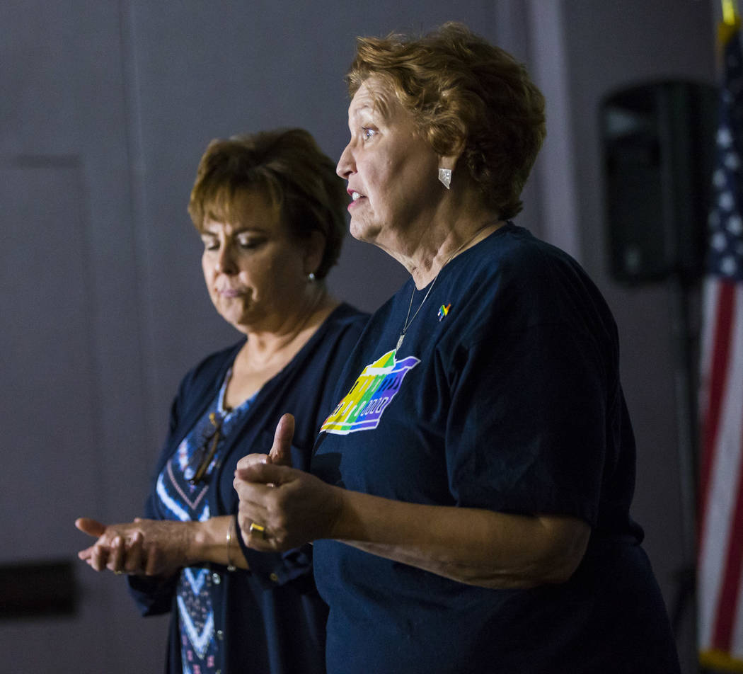 Donna West, chair of the Clark County Democratic Party, right, speaks alongside Marla Turner be ...