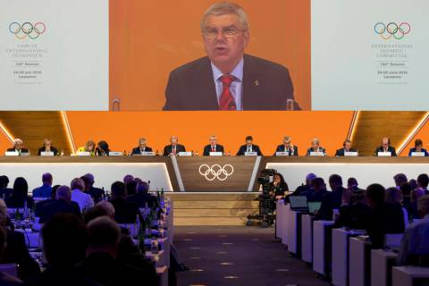 International Olympic Committee, IOC, President Thomas Bach from Germany speaks during the 134t ...