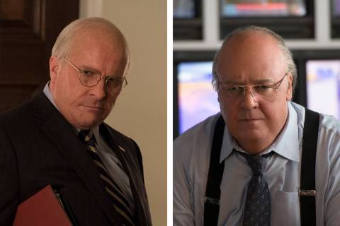 "Christian Bale, left, as Dick Cheney in Adam McKay's ""Vice,"" and Russell Crowe as Roger Ailes ..."