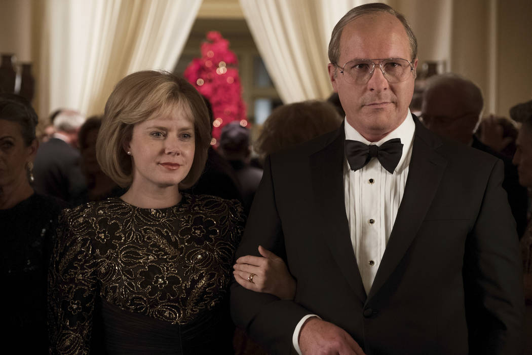 Amy Adams (left) as Lynne Cheney and Christian Bale (right) as Dick Cheney in Adam McKay's VI ...