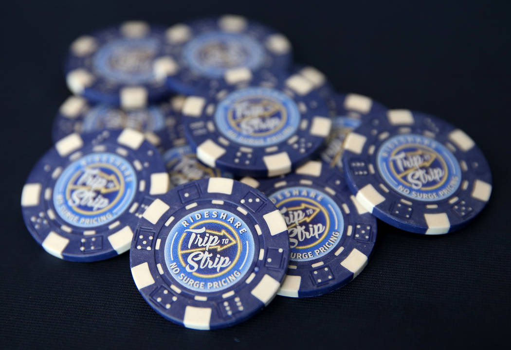 Promotional poker chips during the launch of Trip to Strip, the Regional Transportation Commiss ...