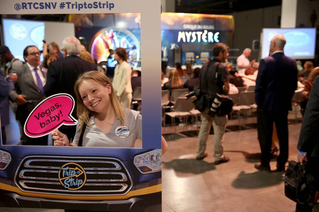 Laura Esfeller, director of marketing for the Las Vegas Monorail, poses in the social media fra ...