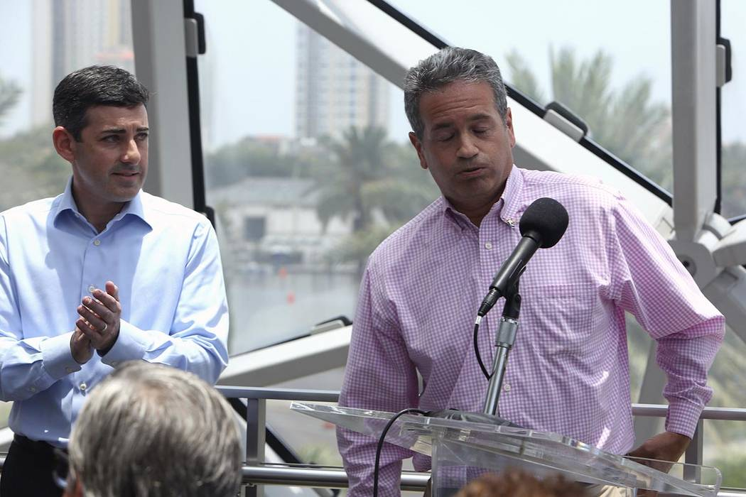 Tampa Bay Rays Principal Owner Stuart Sternberg reacts while answering questions at a press con ...
