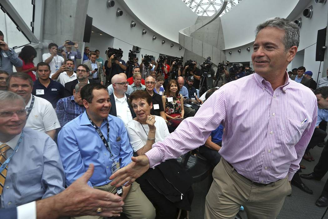 Tampa Bay Rays Principal Owner Stuart Sternberg greets people before a press conference at the ...