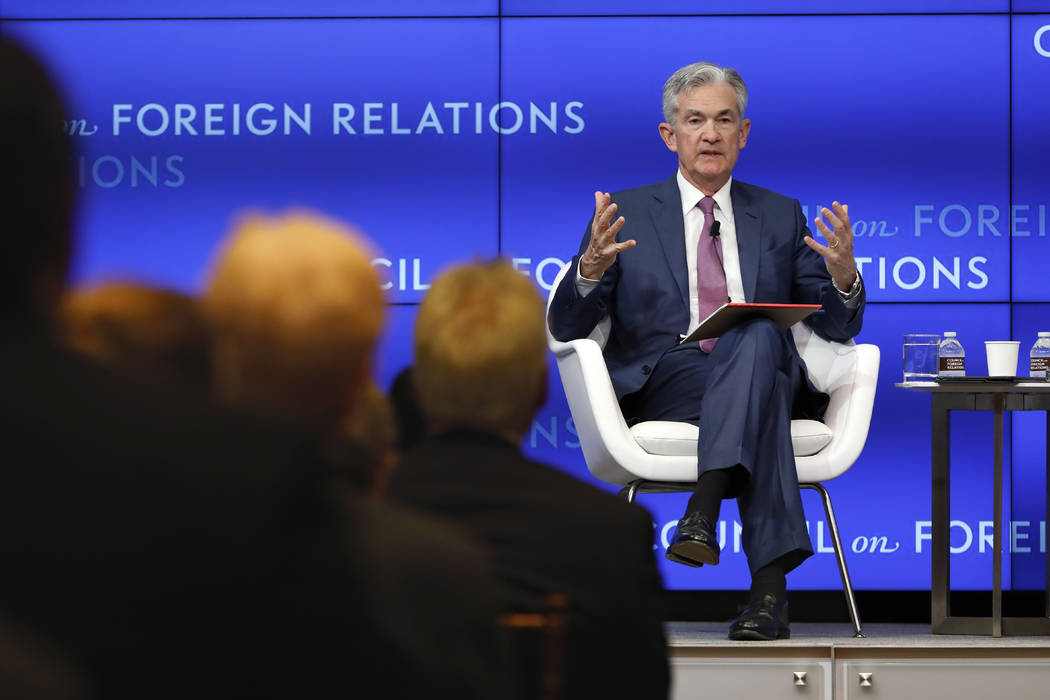 Federal Reserve Chair Jerome Powell speaks on the economy outlook and monetary policy review at ...