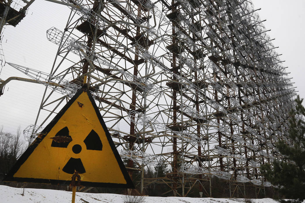 A Soviet-era top secret object Duga, an over-the-horizon radar system once used as part of the ...
