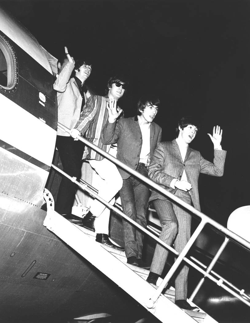 The Beatles arrive at McCarran Airport in Las Vegas, Aug. 19, 1964. The stayed at the Sahara an ...
