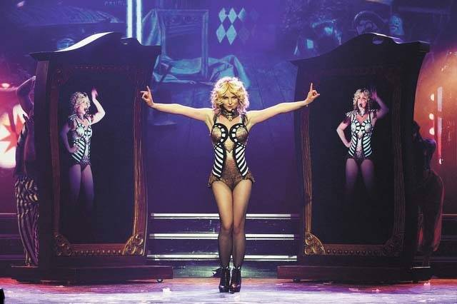 "Britney Spears performs during her ""Piece of ME""' tour at Planet Hollywood. (David Becker/Las V ..."