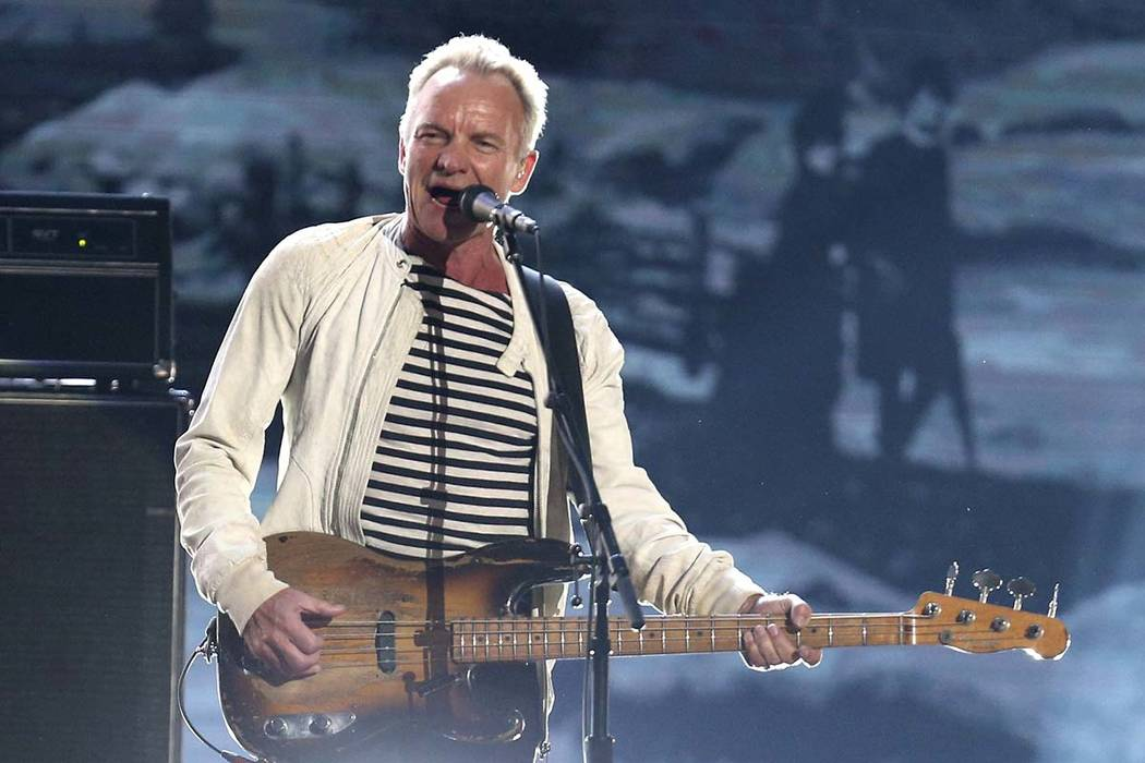 Sting performs at the 60th annual Grammy Awards in New York, Jan. 28, 2018. Sting is heading to ...