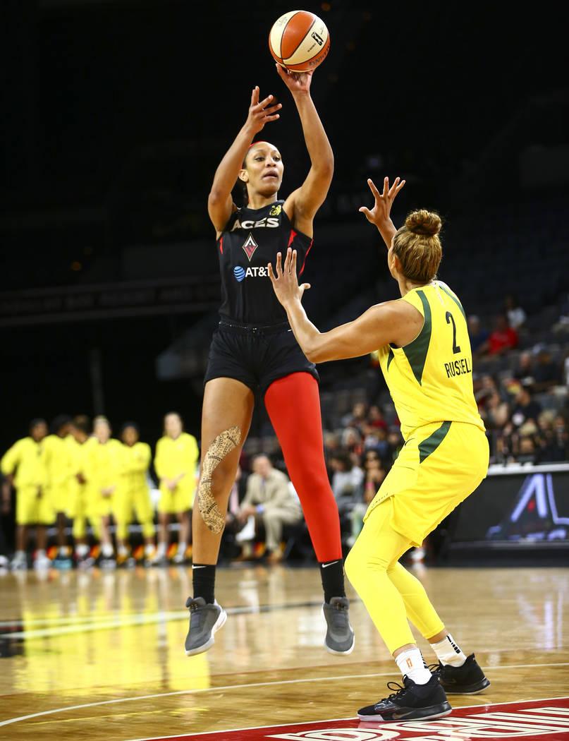 Las Vegas Aces center A'ja Wilson (22) shoots over Seattle Storm center Mercedes Russell (2) du ...
