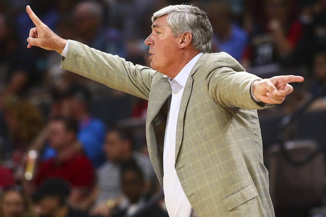 Las Vegas Aces head coach Bill Laimbeer during the first half of a WNBA basketball game at the ...