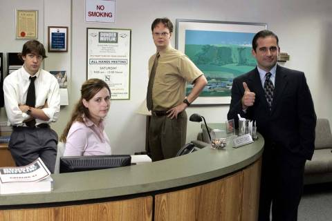 "The cast of ""The Office"" from left, John Krasinski as Jim Halpert, Jenna Fischer as Pam Beesly, ..."