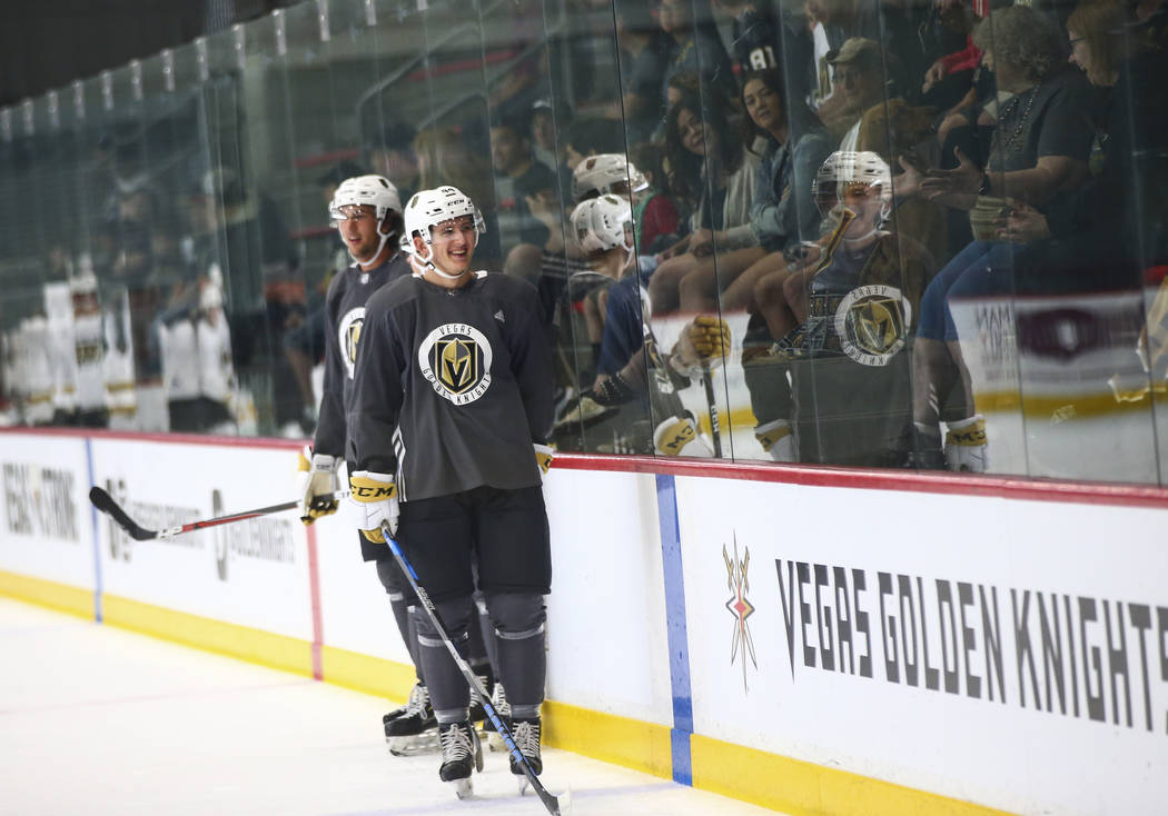 Golden Knights prospect Peter Diliberatore looks up at the crowd during the first day of develo ...