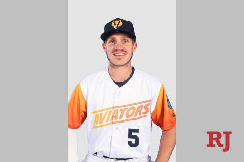Las Vegas Aviators second baseman Corban Joseph (5) pictured on media day at Las Vegas Ballpark ...