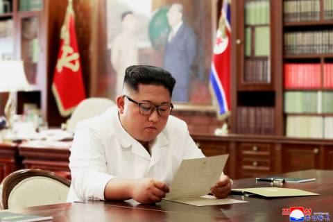In this undated file photo provided on Sunday, June 23, 2019, by the North Korean government, N ...