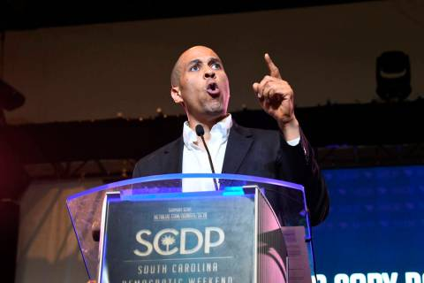 Democratic presidential candidate New Jersey Sen. Cory Booker addresses the South Carolina Demo ...
