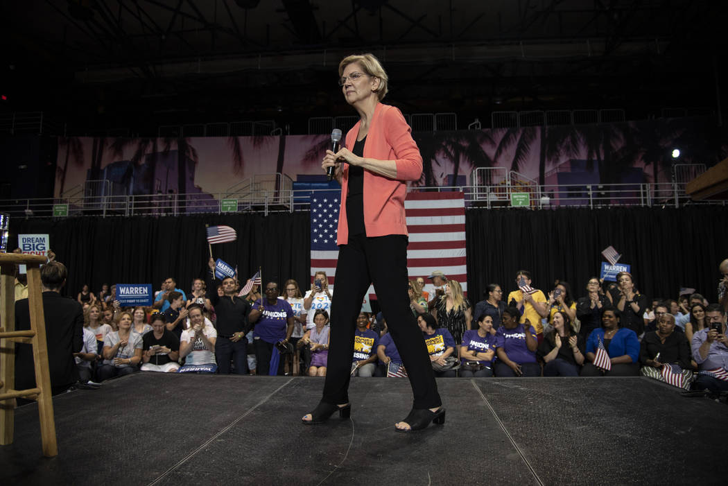 Democratic presidential candidate Sen. Elizabeth Warren, D-Mass., holds a town hall on the Flor ...