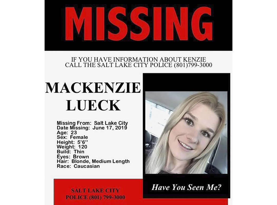 This undated missing persons poster provided by the Salt Lake City Police shows Mackenzie Lueck ...