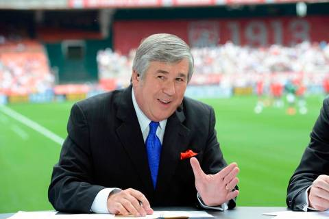In this June 2, 2013, photo provided by ESPN Images, Bob Ley talks during an international frie ...