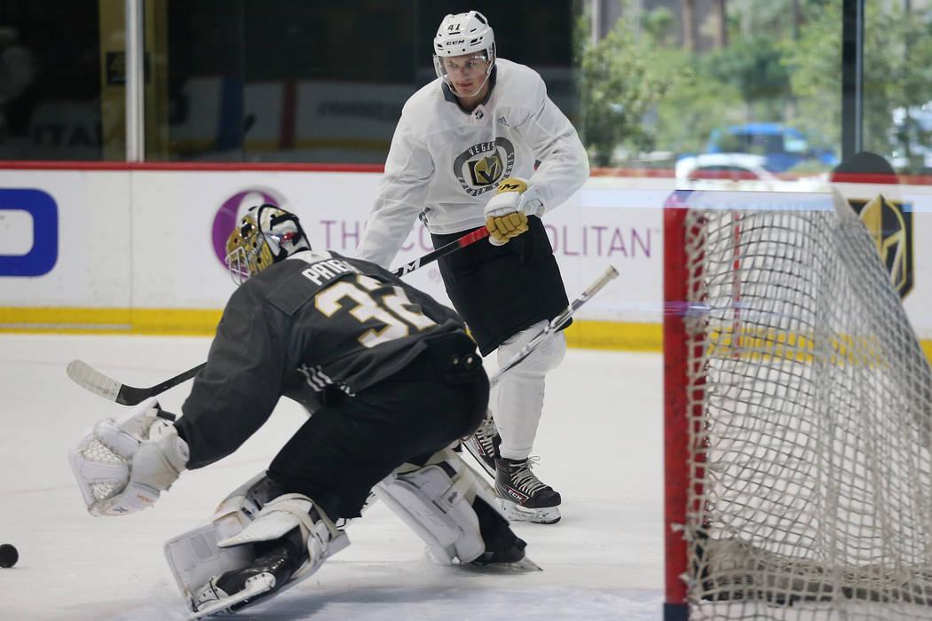 Vegas Golden Knights Ryder Donovan (47) takes a shot at goaltender Jiri Patera (32) during deve ...