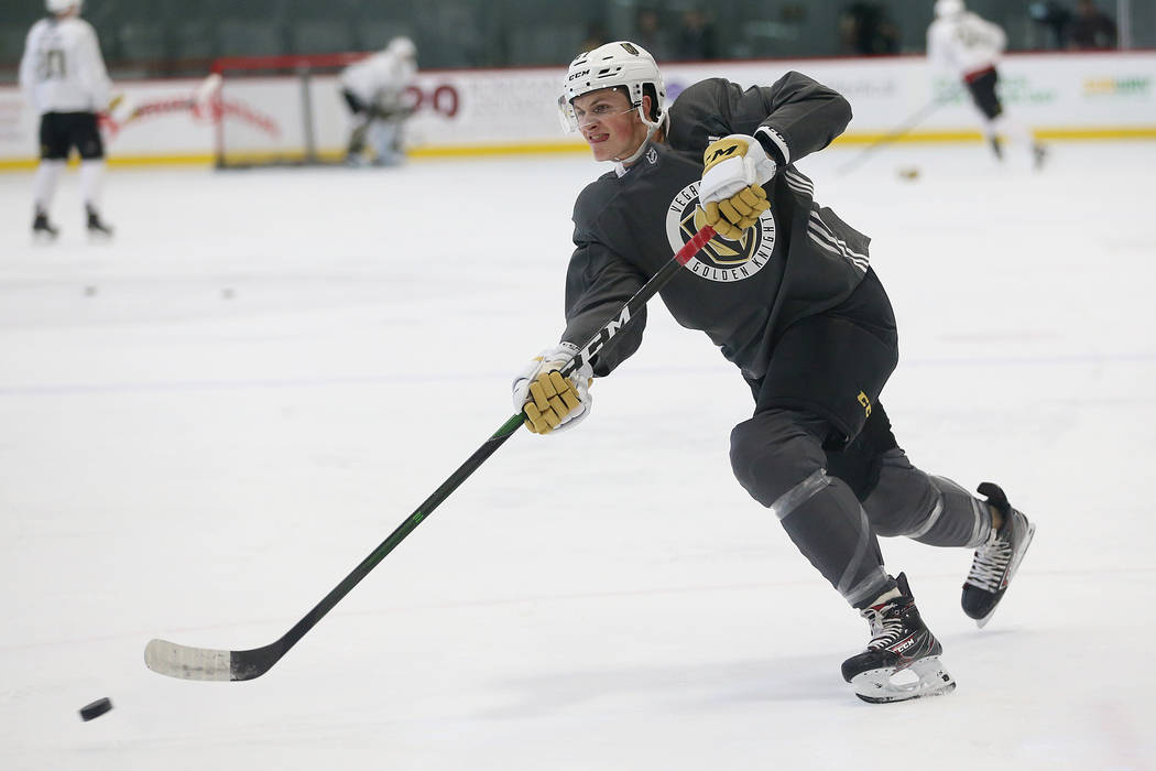 Vegas Golden Knights Ryder Donovan (47) takes a shot during development camp at City National A ...