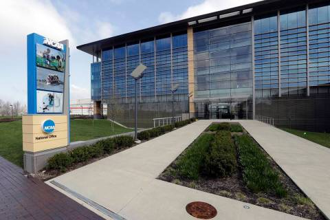 This is an April 25, 2018, file photo showing NCAA headquarters in Indianapolis. The NCAA has a ...